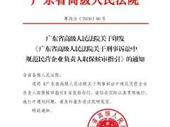 《广东高院关于刑事诉讼中规范民营企业负责人取保候审指引》